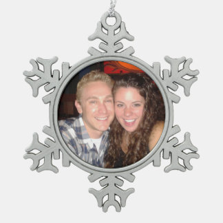 Personal Photo Pewter Snowflake Christmas Ornament