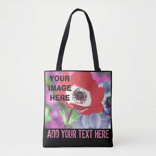 Personal photo with text tote bag