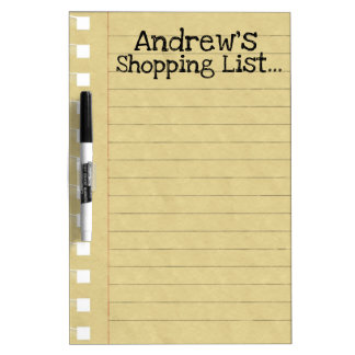 Personal Shopping List Dry Erase Board