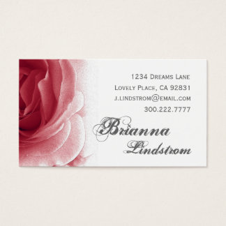 Personal Soft Red Floral Rose Template Business Card