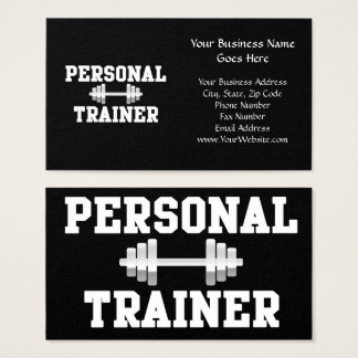 Personal Trainer Black and White Dumbell Training Business Card
