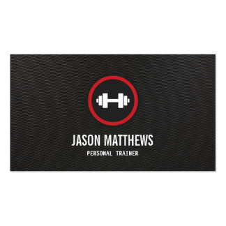 Personal Trainer Dumbbell Logo Fitness Instructor Business Card Template
