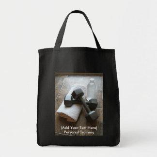 Personal Trainer or Fitness Dumbells Towel & Water Tote Bag