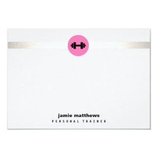 Personal Trainer Pink Dumbbell Logo Fitness Card