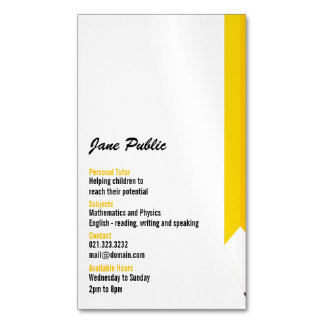 Personal Tutor Pencil Business Card Magnets