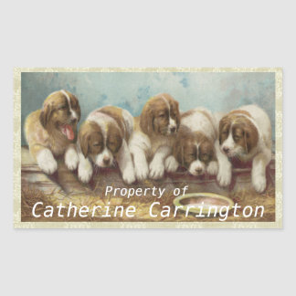 Personalise these cute vintage Puppy Stickers