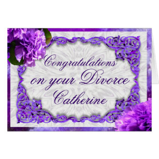 Personalise this Violet Carnations Divorce Card