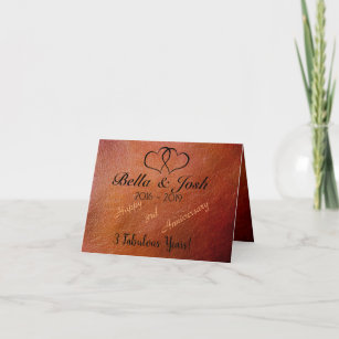 Personalised 3rd Anniversary Faux Leather Card