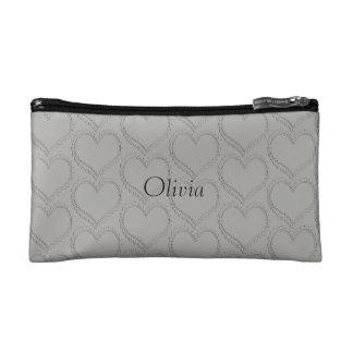 Personalised Add Name Romantic Heart Grey Bag