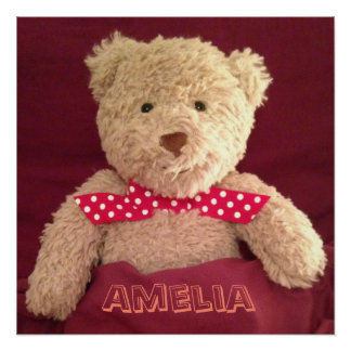 Personalised (Any Name) Teddy Bear Poster Perfect Poster