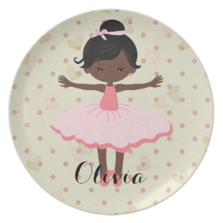 Personalised Ballerina - Afro American Plate