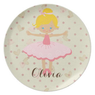 Personalised Ballerina - Blond Blue Eyes Plate