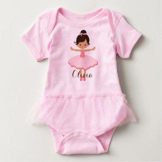 Personalised Ballerina - Brown Hair Brown Eyes Baby Bodysuit
