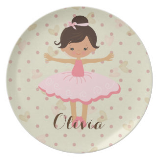 Personalised Ballerina - Brown Hair Brown Eyes Plate