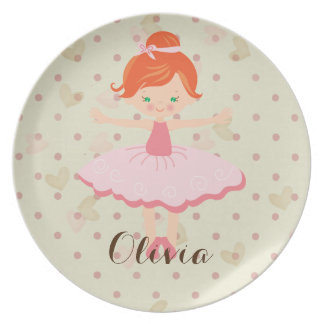 Personalised Ballerina - Red Hair Green Eyes Plate