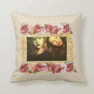 personalised Best friends flower boarder Throw Pillow