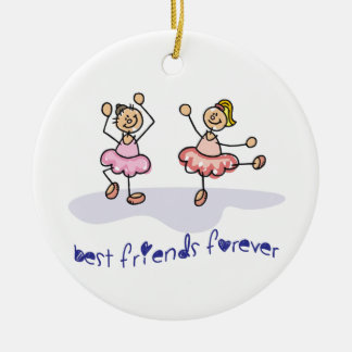 PERSONALISED BEST FRIENDS FOREVER DANCING GIRLS CERAMIC ORNAMENT