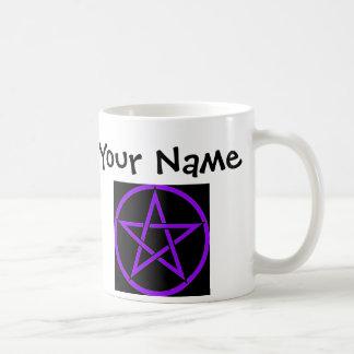 Personalised Black and Purple Pentacle Wiccan Mug