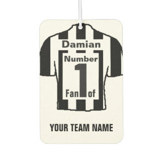 Personalised Black and White Shirts No 1 Fan Car Air Freshener