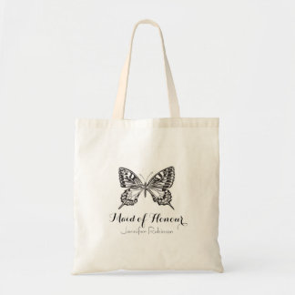 Personalised Black & White Butterfly Tote Bag