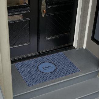 Personalised blue and black geometric weave doormat