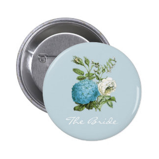 Personalised Blue Floral Hen Party Badges 2 Inch Round Button