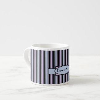 Personalised Blue Pink Stripe Espresso Mug