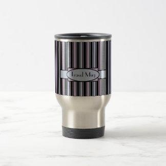 Personalised Blue Pink Stripe Travel Mug