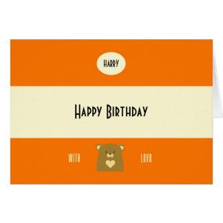 Personalised Boo Bear - Pumpkin Orange Card