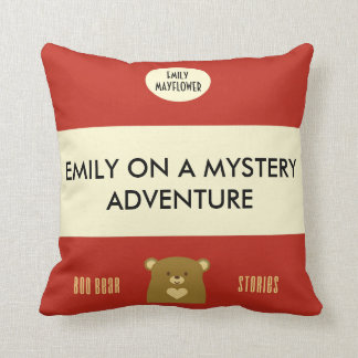 Personalised Boo Bear Stories - Cranberry Red Throw Pillow