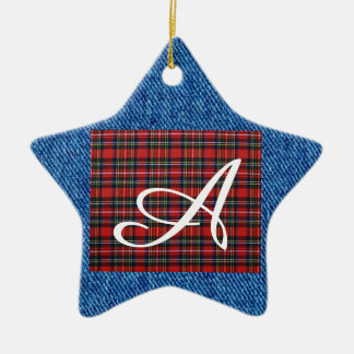 Personalised Check Denim Ceramic Star Ornament
