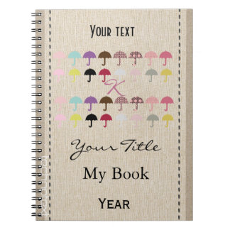 Personalised Chic Fancy Pink Monogrammed Umbrellas Note Books