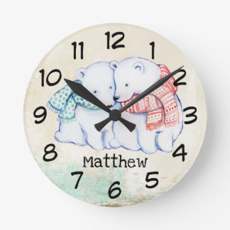 Personalised Children's Clock with polar bears