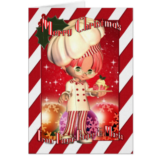 Personalised Christmas Card With Cute Chef And Bau