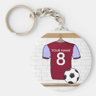 Personalised Claret Blue Football Soccer Jersey Keychain