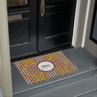 Personalised colourful geometric weave doormat