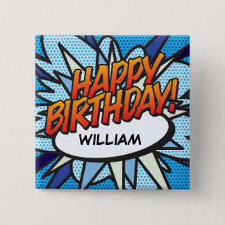 Personalised Comic Book Pop Art HAPPY BIRTHDAY! 2 Inch Square Button