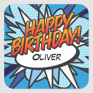 Personalised Comic Book Pop Art HAPPY BIRTHDAY Square Sticker