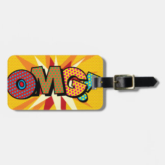Personalised Comic Book Pop Art OMG! Luggage Tag