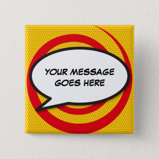 Personalised Comic Book Pop Art Speech Bubble 2 Inch Square Button