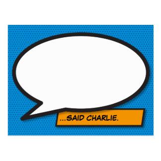 Personalised Comic Book Pop Art Speech Bubble Postcard