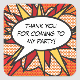 Personalised Comic Book Pop Art THANK YOU! Square Sticker