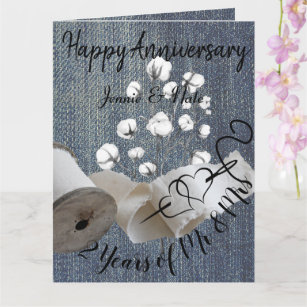 Personalised Cotton 2nd Year Wedding Anniversary Card