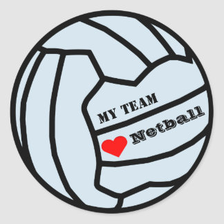 Personalised Custom Colour Love Netball Team Classic Round Sticker