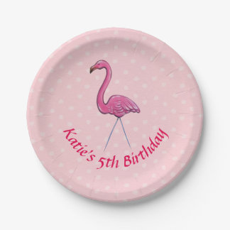 Personalised custom flamingo paper party plate