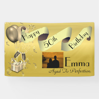 Personalised Custom Idea Happy 50th Birthday Banner
