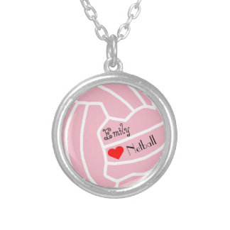 Personalised Custom Netball Themed Ball Design Silver Plated Necklace