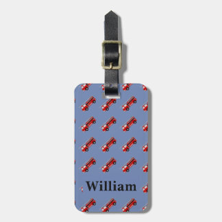 Personalised Cute Blue Kids Firetruck luggage tag