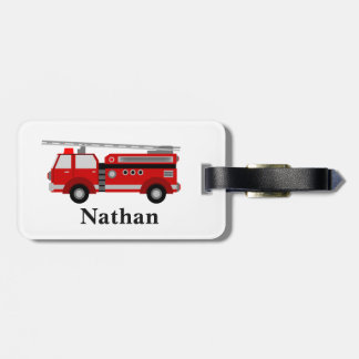 Personalised Cute Kids Red Firetruck luggage tag
