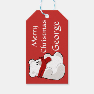 Personalised cute polar bear red gift tags